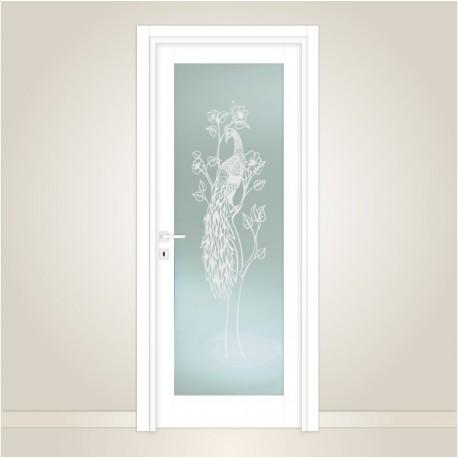 vetro-satinato-per-porte-interne-con-decoro-artistico--pavone--decorato-esternamente